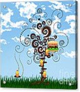 Burger Tree House And The Cupcake Kids  Acrylic Print