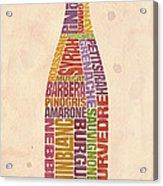 Burgundy Wine Word Bottle Acrylic Print by Mitch Frey
