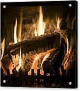 Burning Wood On An Open Fire Acrylic Print