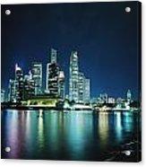 Business District Skyline At Night Acrylic Print