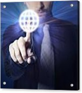Businessman Pressing Touch Screen Button Acrylic Print