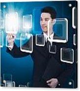 Businessman Pressing Touchscreen Acrylic Print by Setsiri Silapasuwanchai