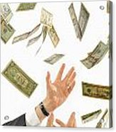 Businessman's Hands Trying To Catch Us Dollars Acrylic Print