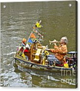 Busker On Canal Acrylic Print by Ed Rooney