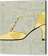 Butter Yellow Leather T Strap Heel Acrylic Print