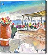 Cafe On Agios Georgios Beach Acrylic Print