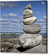 Cairn At North Point On Leelanau Peninsula In Michigan Acrylic Print