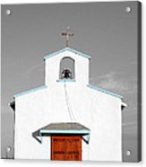 Calera Mission Chapel Facade In West Texas Color Splash Black And White Acrylic Print