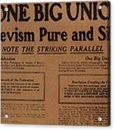 Canada: One Big Union, 1919 Acrylic Print