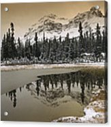Canadian Rocky Mountains Dusted In Snow Acrylic Print