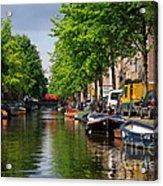 Canal Scene In Amsterdam Acrylic Print