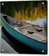 Canoe And Reflections On A Still Lake Acrylic Print