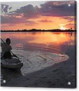 Canoe At Sunset Acrylic Print