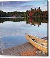 Canoe On A Shore Autumn Nature Scenery Acrylic Print