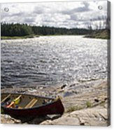 Canoe Pulled Up On The Shore Acrylic Print