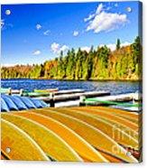 Canoes On Autumn Lake Acrylic Print by Elena Elisseeva