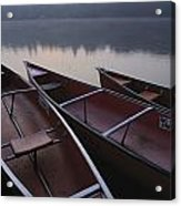 Canoes On Still Water Acrylic Print