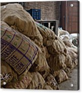 Canvas Bags Holding Foodstuffs Acrylic Print by Inti St. Clair