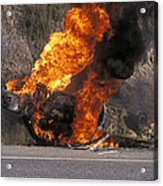 Car In Flames Acrylic Print by Kaj R. Svensson