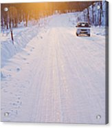 Car On Snow Covered Road Acrylic Print by Jeremy Woodhouse