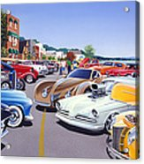 Car Show By The Lake Acrylic Print