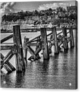 Cardiff Bay Old Jetty Supports Mono Acrylic Print