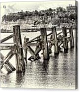 Cardiff Bay Old Jetty Supports Opal Acrylic Print