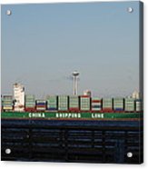 Cargo Ship In Seattle Acrylic Print