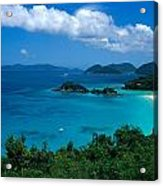 Caribbean Blue Acrylic Print by Kathy Yates