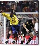 Carles Puyol Jumping Acrylic Print