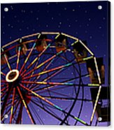 Carnival Ferris Wheel Against Starry Night Sky Acrylic Print by Heather Cate Photography