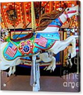 Carousel Horse With Flags Acrylic Print