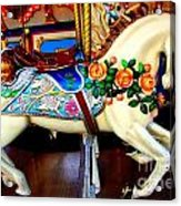 Carousel Horse With Roses Acrylic Print