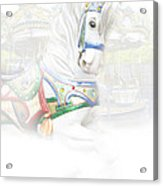 Carousel White Horse In A Child's World Acrylic Print