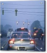 Cars And Traffic Lights In A Rain Storm Acrylic Print