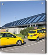 Cars Lining Up For Pickup At The Airport Acrylic Print by Jaak Nilson
