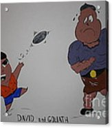 Cartoon David And Goliath Acrylic Print by Annie Abraham