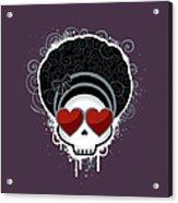 Cartoon Skull With Hearts As Eyes Acrylic Print by Sherrie Thai