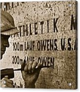 Carving The Name Of Jesse Owens Into The Champions Plinth At The 1936 Summer Olympics In Berlin Acrylic Print by American School
