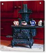 Cast Iron Stove With Teapots Acrylic Print