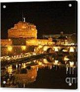 Castel San Angelo At Night. Rome Acrylic Print by Bernard Jaubert