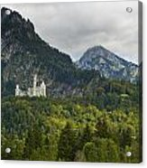 Castle Neuschwanstein With Alps In The Background Acrylic Print