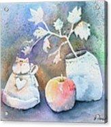 Cat-apple-vase Still Life Acrylic Print