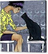 Cat Talk Acrylic Print by Georgiana Chitac