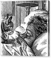 Cat Watching Sleeping Man, Artwork Acrylic Print