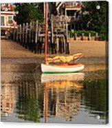 Catboat And Rippled Water Reflections Acrylic Print