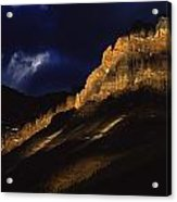 Cathedral Crags At Dusk, Yoho National Acrylic Print
