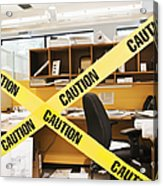 Caution Tape Blocking A Cubicle Entrance Acrylic Print