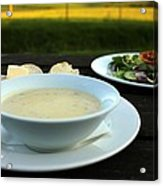 Celery Root Soup And Salad Acrylic Print