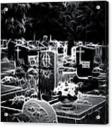 Cemetary At Night Acrylic Print by Ellen Heaverlo